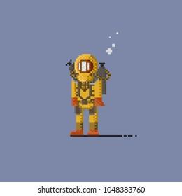 Pixel look deep sea diver in yellow suit.8bit art vector illustration.