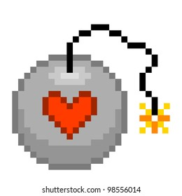 Pixel Love Bomb Illustration