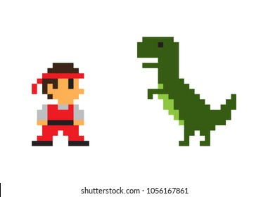 Pixel man and big Rex dinosaur vector poster isolated on white background, pixel predator animal with green skin, small man in red overall and bandage