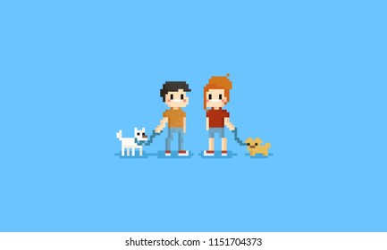 Pixel man and woman holding them pet.pet lover.8bit character.