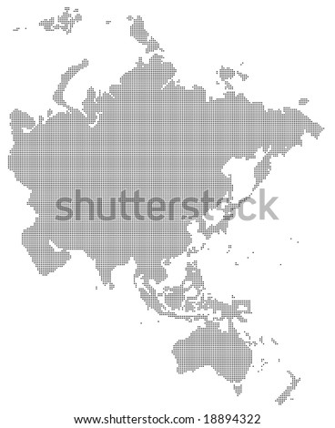 Pixel Map Asia Australia Stock Vector Royalty Free 18894322