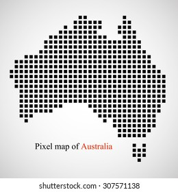 Pixel map of Australia. Colorful background. Vector illustration. Eps 10