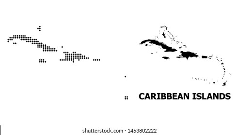 Pixel map of Caribbean Islands composition and solid illustration. Vector map of Caribbean Islands composition of round dots on a white background.