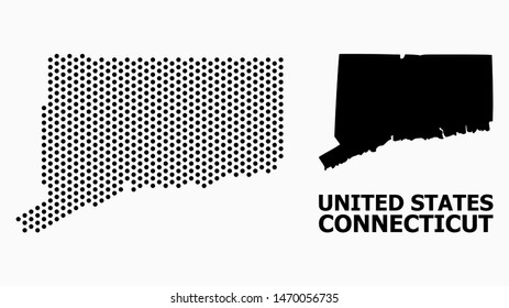 Pixel map of Connecticut State composition and solid illustration. Vector map of Connecticut State composition of circle items with honeycomb periodic order on a white background.