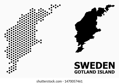 Pixel map of Gotland Island composition and solid illustration. Vector map of Gotland Island composition of round pixels with hexagonal periodic array on a white background.