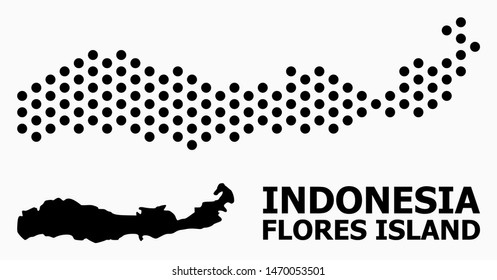 Pixel map of Indonesia - Flores Island composition and solid illustration. Vector map of Indonesia - Flores Island composition of sphere items with hexagonal periodic array on a white background.