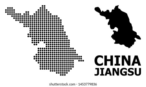 Pixel Map of Jiangsu Province composition and solid illustration. Vector Map of Jiangsu Province composition of round items on a white background.