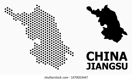 Pixel Map of Jiangsu Province composition and solid illustration. Vector Map of Jiangsu Province composition of round points with honeycomb periodic order on a white background.
