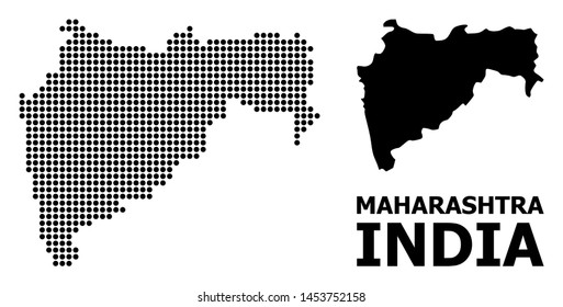 Pixel map of Maharashtra State composition and solid illustration. Vector map of Maharashtra State composition of sphere elements on a white background.