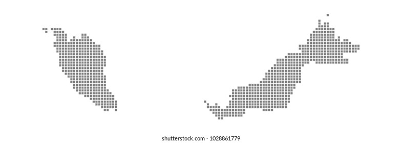Pixel map of Malaysia. Vector dotted map of Malaysia isolated on white background. Abstract computer graphic of Malaysia map. vector illustration.