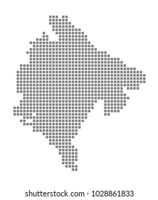 Pixel map of Montenegro. Vector dotted map of Montenegro isolated on white background. Abstract computer graphic of Montenegro map. vector illustration.