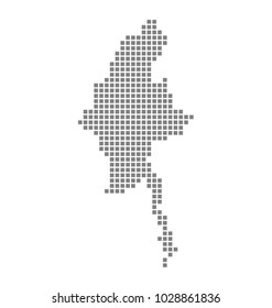 Pixel map of Myanmar. Vector dotted map of Myanmar isolated on white background. Abstract computer graphic of Myanmar map. vector illustration.