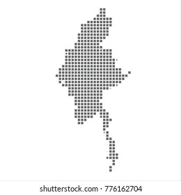 Pixel map of Myanmar. Vector dotted map of Myanmar isolated on white background. Myanmar map page symbol for your web site design map logo, app, ui, Travel vector eps10