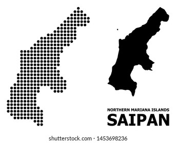 Pixel map of Saipan Island composition and solid illustration. Vector map of Saipan Island composition of round points on a white background. Abstract flat territory scheme for educational templates.