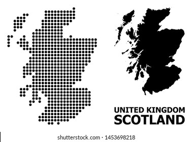 Pixel map of Scotland composition and solid illustration. Vector map of Scotland composition of spheric points on a white background. Abstract flat territorial plan for education illustrations.
