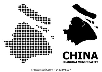 Pixel map of Shanghai Municipality composition and solid illustration. Vector map of Shanghai Municipality composition of round items on a white background.