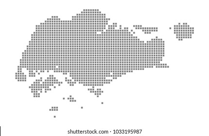 Pixel map of Singapore. Vector dotted map of Singapore isolated on white background. Abstract computer graphic of Singapore map. vector illustration.