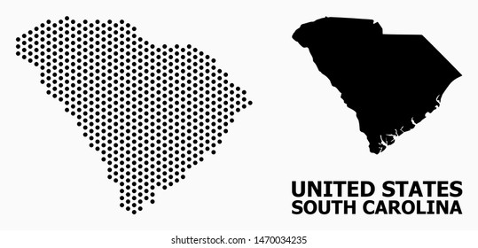 Pixel map of South Carolina State composition and solid illustration. Vector map of South Carolina State composition of round points with hexagonal periodic array on a white background.
