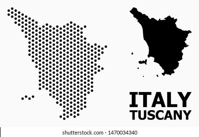 Pixel map of Tuscany region composition and solid illustration. Vector map of Tuscany region composition of spheric items with honeycomb geometric order on a white background.
