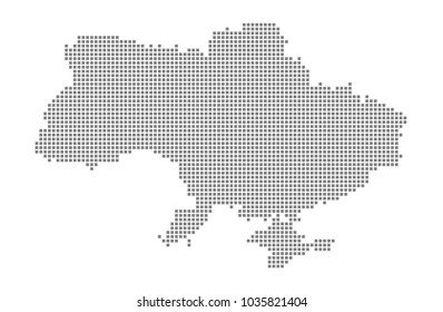 Pixel map of Ukraine. Vector dotted map of Ukraine isolated on white background. Abstract computer graphic of Ukraine map. vector illustration.