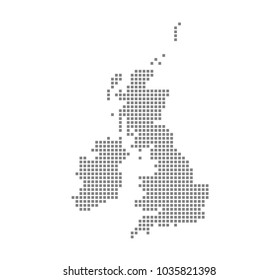 Pixel map of United Kingdom. Vector dotted map of United Kingdom isolated on white background. Abstract computer graphic of United Kingdom map. vector illustration.