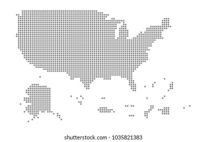 Pixel map of USA Territories. Vector dotted map of USA Territories isolated on white background. Abstract computer graphic of USA Territories map. vector illustration.