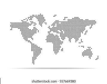 Pixel map of world. Dotted world map. Vector illustration.