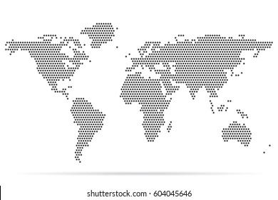 Pixel map of world. Dotted world map. Vector illustration