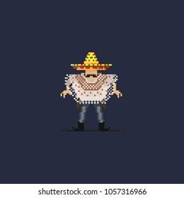 Pixel maxican gunman.8 bit art vector illustration.