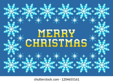 Pixel Merry Christmas Greeting Card Design, EPS8 Vector