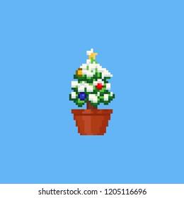 Pixel mini christmas tree with snow on flowerpot.8bit.