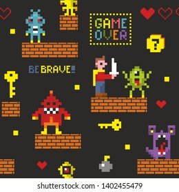 Pixel monsters and hero endless wallpaper for surface graphic design. Seamless pattern in vector with  funny vintage characters. Illustration of retro computer game.