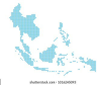 pixel mosaic blue dot map on white background of map of southeast asia symbol for your