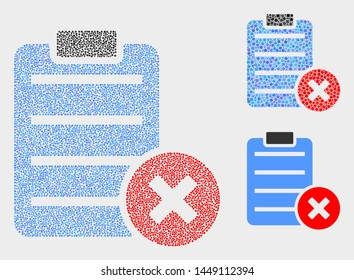 Pixel and mosaic delete report page icons. Vector icon of delete report page designed of irregular round dots. Other pictogram is created from square particles.