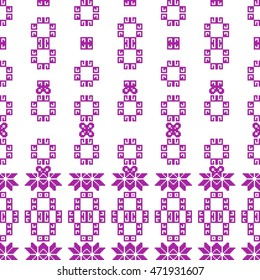 pixel mosaic in a geometric abstract pattern with floral elements. vector illustration. for fashion design, textile, home of embroidery