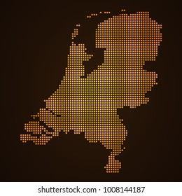 Pixel mosaic glow orange dot map on dark background of map of Netherlands symbol for your web site design map logo, app, ui, Travel vector eps10, concept Illustration.