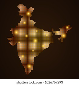 Pixel mosaic glow orange dot map with light on dark background of map of india symbol for your web site design map logo, app, ui, Travel vector eps10, concept Illustration.