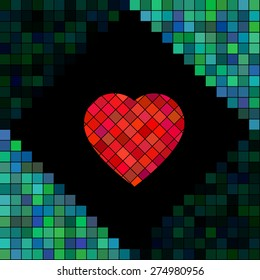 Pixel mosaic heart. Pixelated vector illustration