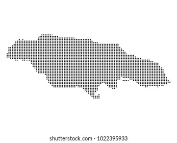 Pixel mosaic Map of Jamaica on white background. for your web site design map logo, app, ui, Travel vector illustration eps10.