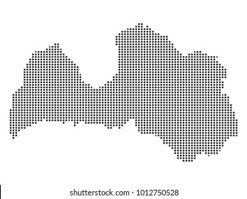 Pixel mosaic Map of Latvia on white background. for your web site design map logo, app, ui, Travel vector illustration eps10.