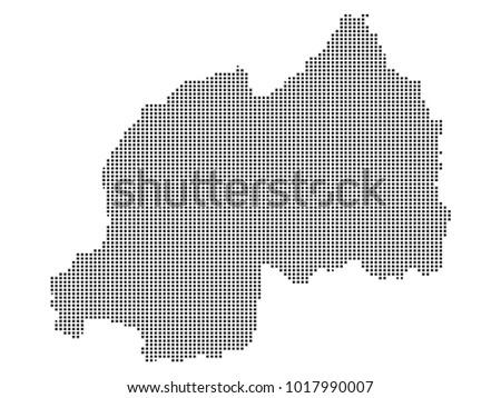 Pixel Mosaic Map Rwanda On White Stock Vector (Royalty Free
