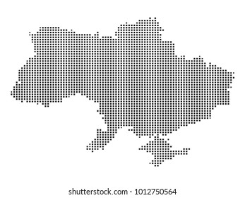 Pixel mosaic Map of Ukraine on white background. for your web site design map logo, app, ui, Travel vector illustration eps10.