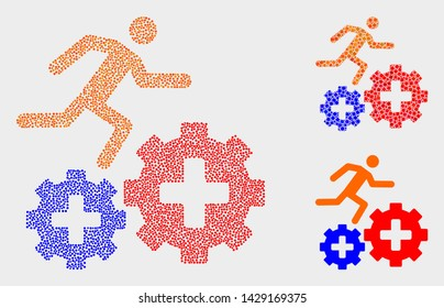 Pixel and mosaic patient run over gears icons. Vector icon of patient run over gears formed of scattered spheric items. Other pictogram is formed from square pixels.