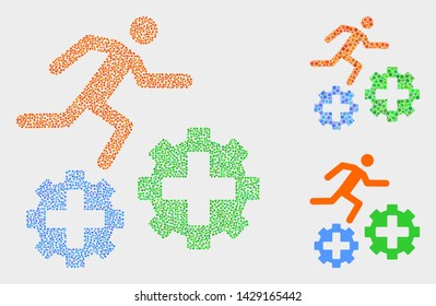 Pixel and mosaic running patient on gears icons. Vector icon of running patient on gears created of random circle elements. Other pictogram is composed from elements.