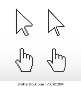 Pixel mouse cursors. Arrow pointer and finger.