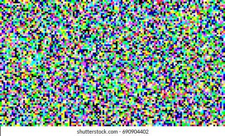 Pixel Noise Vector. VHS Glitch Texture TV Screen. Color Pixels Background. No Signal
