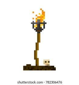 Pixel old torch for games and web sites