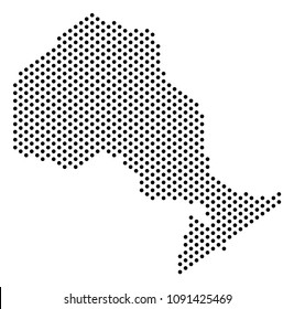 Pixel Ontario Province map. Vector territory scheme. Cartographic pattern of Ontario Province map composed from filled spheres.