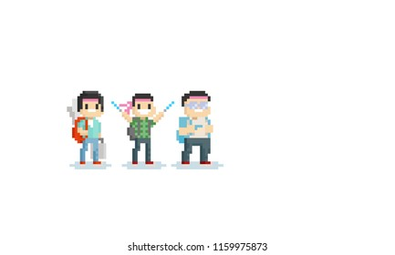 Pixel otaku character.8bit.