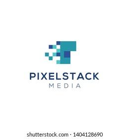 Pixel P Initial Media Company Modern Logo